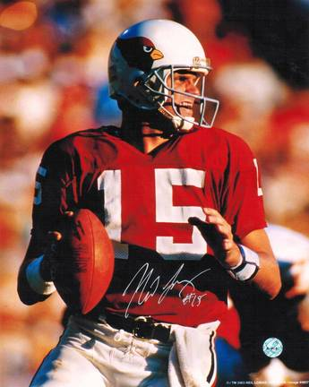 "Neil Lomax Autographed ""Back to Pass"" St. Louis Cardinals (Football) 8"" x 10"" Photo"