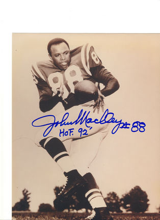 """John Mackey Baltimore Colts Autographed 8"""" x 10"""" Photograph Inscribed with """"HOF 92"""" (Unframed)"""