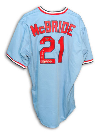"Bake McBride Autographed St. Louis Cardinals Throwback Blue Majestic Baseball Jersey Inscribed with ""1974 NL ROY&qu"
