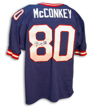 """Phil McConkey Autographed New York Giants Blue Throwback Jersey Inscribed with """"SB XXI"""""""