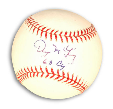 """Denny McLain Autographed Baseball Inscribed with """"68 Cy"""""""