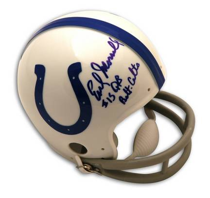 """Earl Morrall Baltimore Colts Autographed Mini Helmet Inscribed with """"QB Balt. Colts"""""""