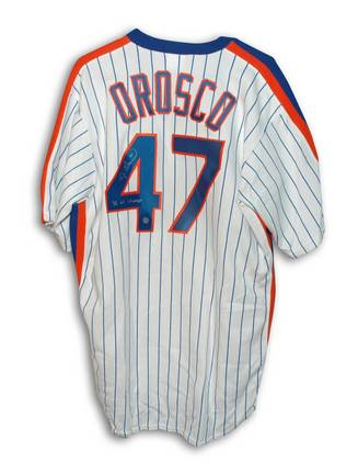 """Jesse Orosco New York Mets Autographed White Pinstripe Majestic Jersey Inscribed with """"86 WS Champs"""""""