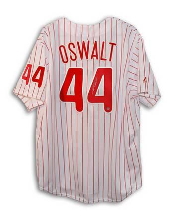 Roy Oswalt Autographed Philadelphia Phillies Pinstripe Majestic Jersey