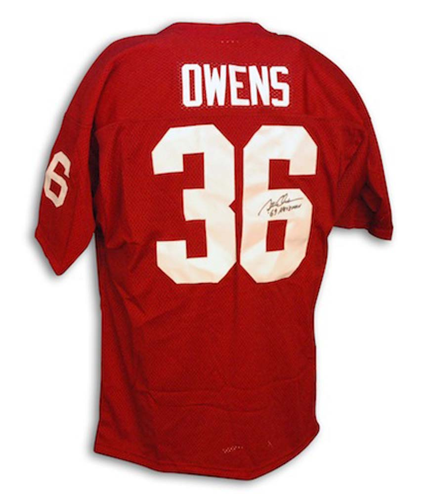 """Steve Owens Oklahoma Sooners Autographed Authentic Jersey with """"Heisman 69"""" Inscription"""