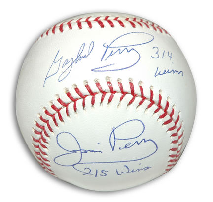 """Gaylord Perry and Jim Perry Autographed Baseball Inscribed with """"314 Wins"""" and """"215 Wins"""""""