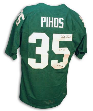 "Pete Pihos Autographed Philadelphia Eagles Throwback Green Jersey with ""HOF"" Inscription"
