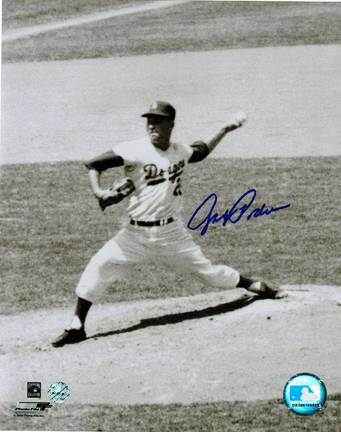 """Johnny Podres Autographed """"Pitching"""" Brooklyn Dodgers 8"""" x 10"""" Photo"""