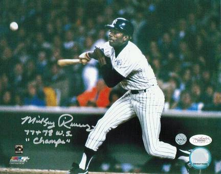 """Mickey Rivers New York Yankees Autographed 8"""" x 10"""" Photograph Inscribed with """"77+78 WS Champs"""" (Unf"""