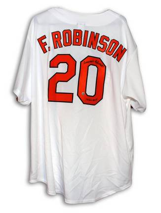 """Frank Robinson Autographed Baltimore Orioles White Majestic Throwback Jersey Inscribed """"1966 MVP"""""""