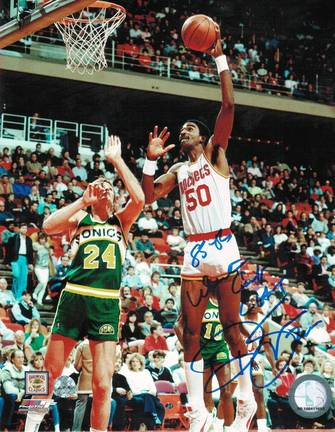 "Ralph Sampson Autographed ""Blue Signature"" Houston Rockets 8"" x 10"" Photo with ""85-86 Western C"