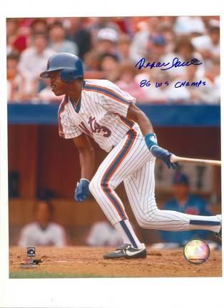 """Rafael Santana New York Mets Autographed 8"""" x 10"""" Photograph Inscribed with """"86 WS Champs"""" (Unframed"""