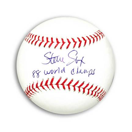 "Steve Sax Autographed MLB Baseball Inscribed ""88 World Champs"""