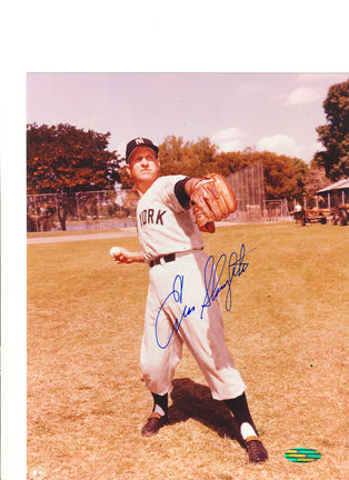 "Enos Slaughter New York Yankees Autographed 8"" x 10"" Throwing Ball Photograph (Unframed)"