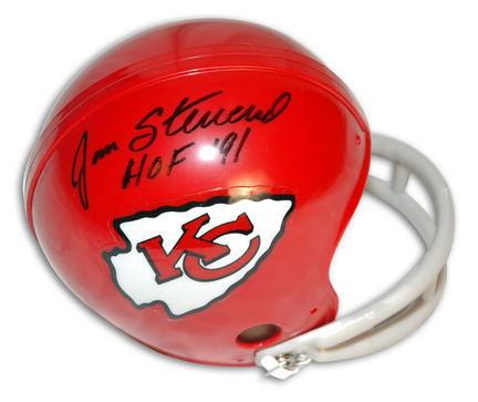 "Jan Stenerud Autographed Kansas City Chiefs Throwback Two-Bar Mini Football Helmet Inscribed with """"HOF '91"" APE-STENERUD-HOF-TB-M"