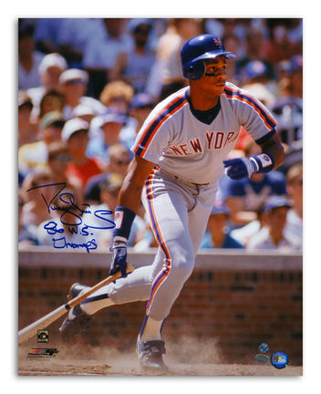 """Darryl Strawberry New York Mets Autographed 16"""" x 20"""" Gray Jersey Photograph Inscribed with """"86 WS Champs"""