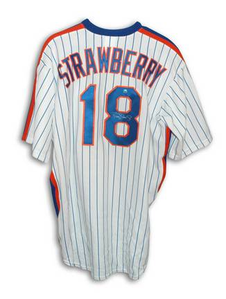 Darryl Strawberry New York Mets Autographed White Pinstripe Majestic Jersey