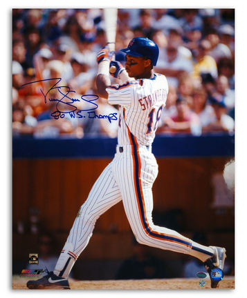 """Darryl Strawberry New York Mets Autographed 16"""" x 20"""" White Jersey Photograph Inscribed with """"86 WS Champ"""