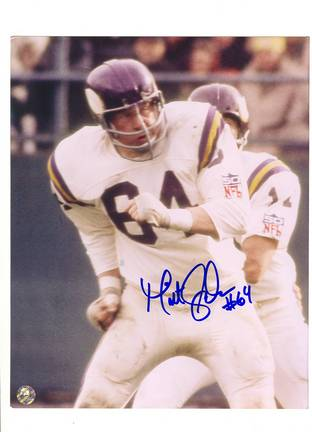 "Milt Sunde Minnesota Vikings Autographed 8"" x 10"" Photograph with ""#64"" Inscription (Unframed)"