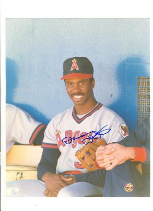 "Devon White California Angels Autographed 8"" x 10"" (Sitting) Photograph (Unframed)"