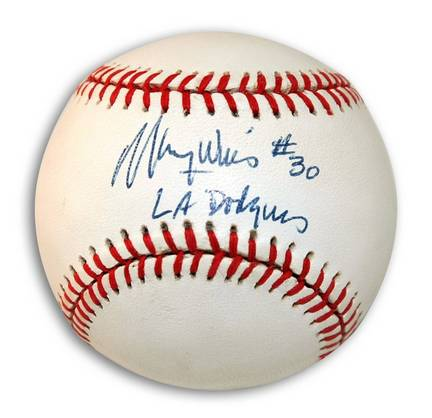 """Maury Wills Autographed Baseball Inscribed with """"LA Dodgers"""""""