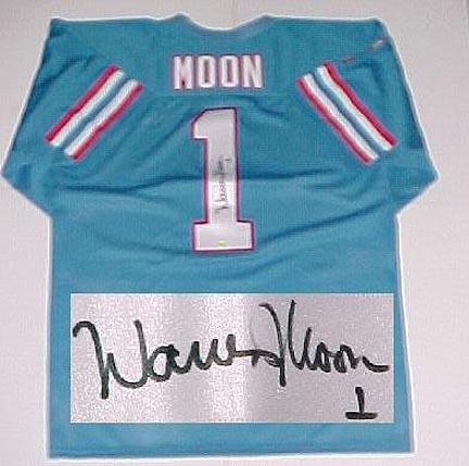2b24cbe28 Warren Moon, Houston Oilers NFL Authentic Autographed Blue Throwback Jersey  (APE-MOONW-