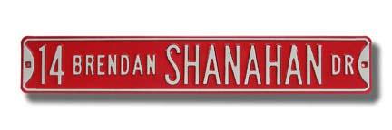 "Steel Street Sign:  ""14 BRENDAN SHANAHAN DR"""