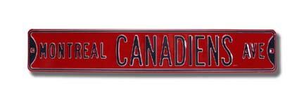 """Steel Street Sign: """"MONTREAL CANADIENS AVE"""""""