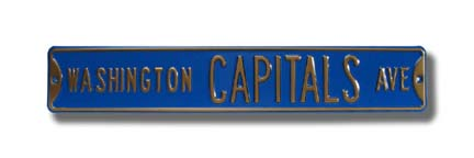 "Steel Street Sign: ""WASHINGTON CAPITALS AVE"