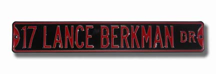"Steel Street Sign: ""17 LANCE BERKMAN DR"""