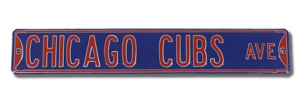 """Steel Street Sign:  """"CHICAGO CUBS AVE"""""""