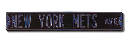 "Steel Street Sign: ""NEW YORK METS AVE"