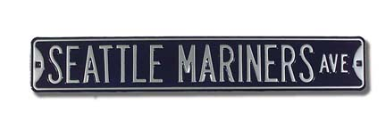 "Steel Street Sign:  ""SEATTLE MARINERS AVE"""