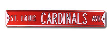 Steel Street Sign: ST. LOUIS CARDINALS AVE (Red)