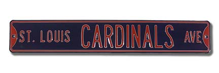 Steel Street Sign: ST. LOUIS CARDINALS AVE (Navy)