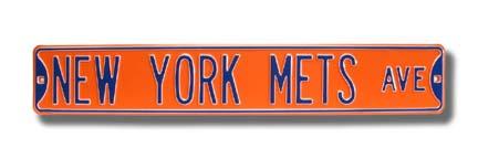"Steel Street Sign:  ""NEW YORK METS AVE"" (Orange)"