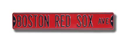 "Steel Street Sign:  ""BOSTON RED SOX AVE"" (Red)"