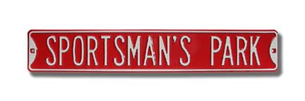 "Steel Street Sign: ""SPORTSMAN'S PARK"""