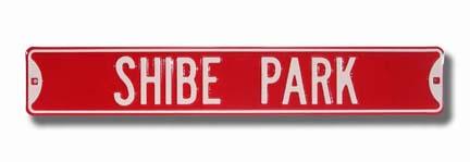 "Steel Street Sign:  ""SHIBE PARK"""
