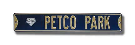 """Steel Street Sign:  """"PETCO PARK"""" with Padres Logo"""