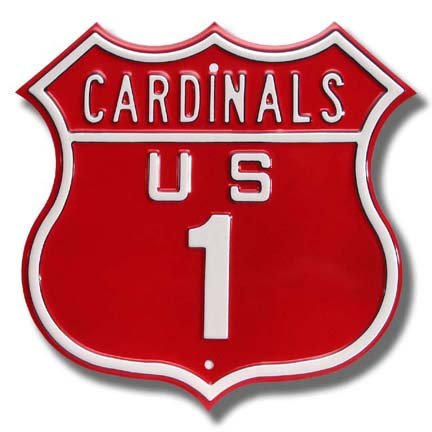 "Steel Route Sign:  ""CARDINALS US 1"""