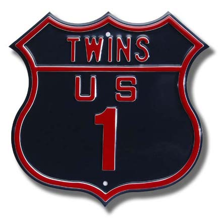Steel Route Sign: TWINS US 1