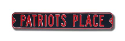 """Steel Street Sign:  """"PATRIOTS PLACE"""""""