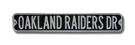 "Steel Street Sign: ""OAKLAND RAIDERS DR"""