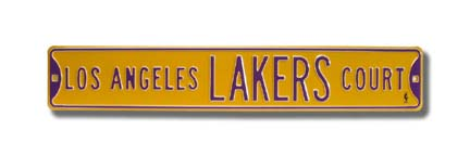 "Steel Street Sign:  ""LOS ANGELES LAKERS COURT"""