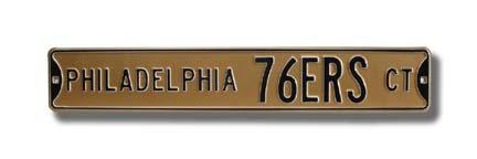"Steel Street Sign: ""PHILADELPHIA 76ERS CT"""