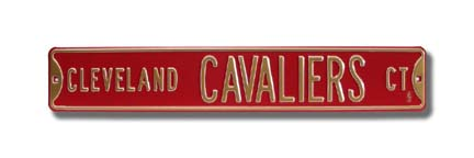"""Steel Street Sign: """"CLEVELAND CAVALIERS CT"""