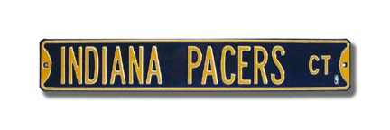 "Steel Street Sign: ""INDIANA PACERS CT"""