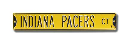 """Steel Street Sign: """"INDIANA PACERS CT"""" (Yellow)"""