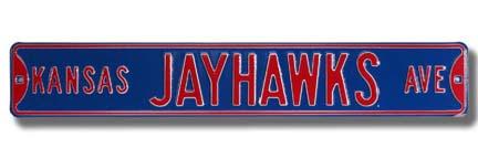 """Steel Street Sign: """"KANSAS JAYHAWKS AVE"""""""